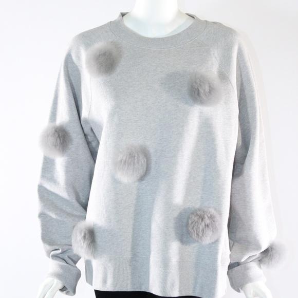 Tibi Sweaters Last Call Pom Pom Large Grey Sweatshirt Poshmark